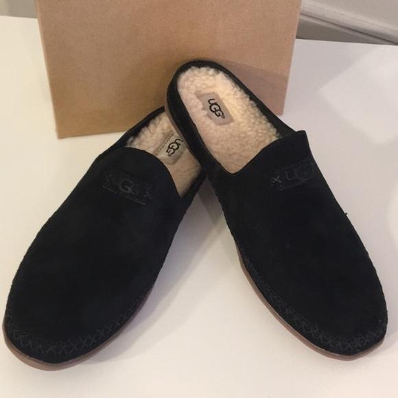 0e2be4b59f8 New Ugg Tamara Black Suede slip on slippers sz 7 NWT